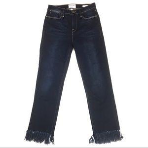 Frame Le high skinny raw hem jean ankle crop